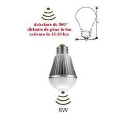 Bec Led cu senzor de miscare E27 6W Adeleq 00-5946
