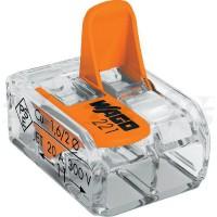 Set 10 cutii de conexiuni cu maneta 4mm2 2 pini max.32A Wago 221-412