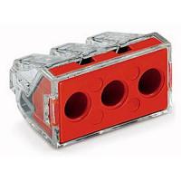 Set 10 conectori cu fixare prin impingere 3x2,5-6mm2 41A transparent Wago 773-173