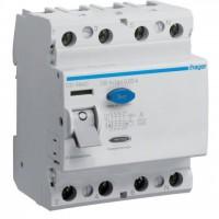 Intreruptor diferential 4P 100A, 30mA, A Hager CD484D