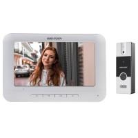 Set videointerfon color Hikvision DS-KIS202, montaj pe 4 fire, format din post exterior DS-KB2411-IM si monitor interior