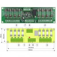 Modul cu 8 sigurante fuzibile independente EN54-LB4 pentru sursele RED certificate EN54, indicator optic pentru defectiuni