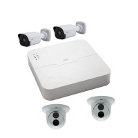 Kit Uniview PoE - NVR201-04LP + 2 camere dome IPC3611ER3-PF28 + 2 camere bullet IPC2121SR3-PF36 Kit IP-POE4-3