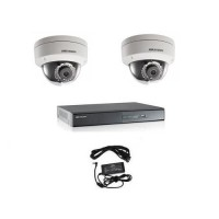 Kit supraveghere video cu 2 camere dome IP 1.3MP