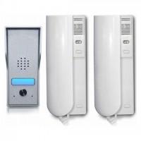 Kit interfon audio KrugTechnik KR-ADP42K 2 posturi de interior si 1 post de exterior, cablare maxim 150m