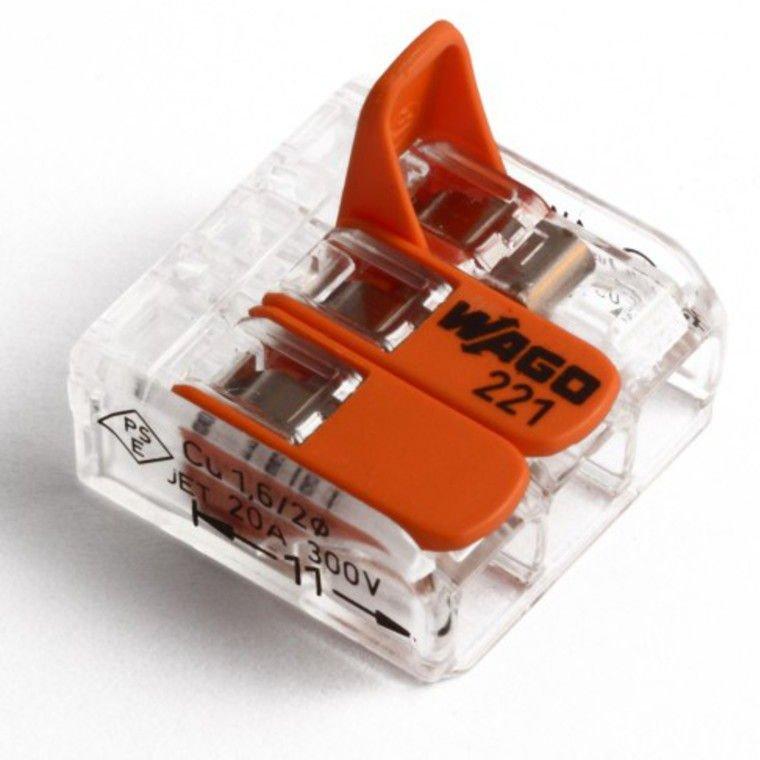Set 10 cutii de conexiuni cu maneta 4mm2 3 pini max.32A Wago 221-413
