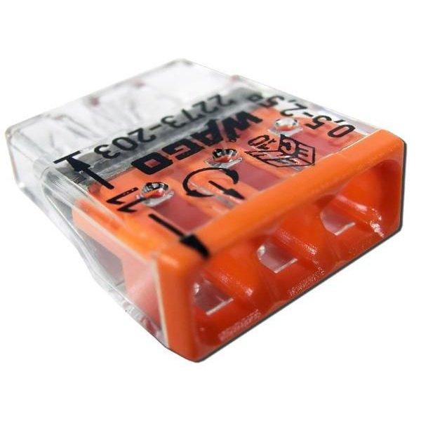Set 10 conectori cu fixare prin impingere 3 conductoare 2 5mm2 24A Wago 2273-203