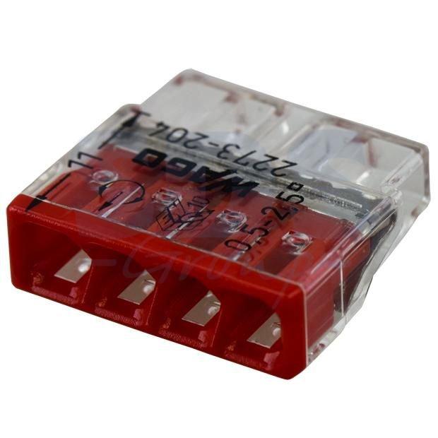 Set 10 conectori cu fixare prin impingere 4 conductoare 2 5mm2 24A Wago 2273-204
