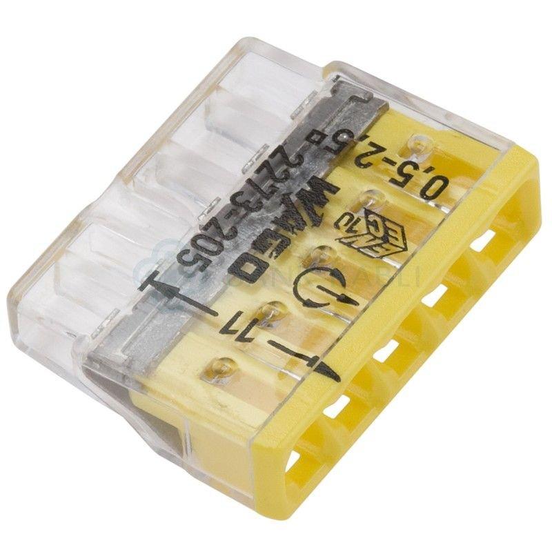 Set 10 conectori cu fixare prin impingere 5 conductoare 2 5mm2 24A Wago 2273-205