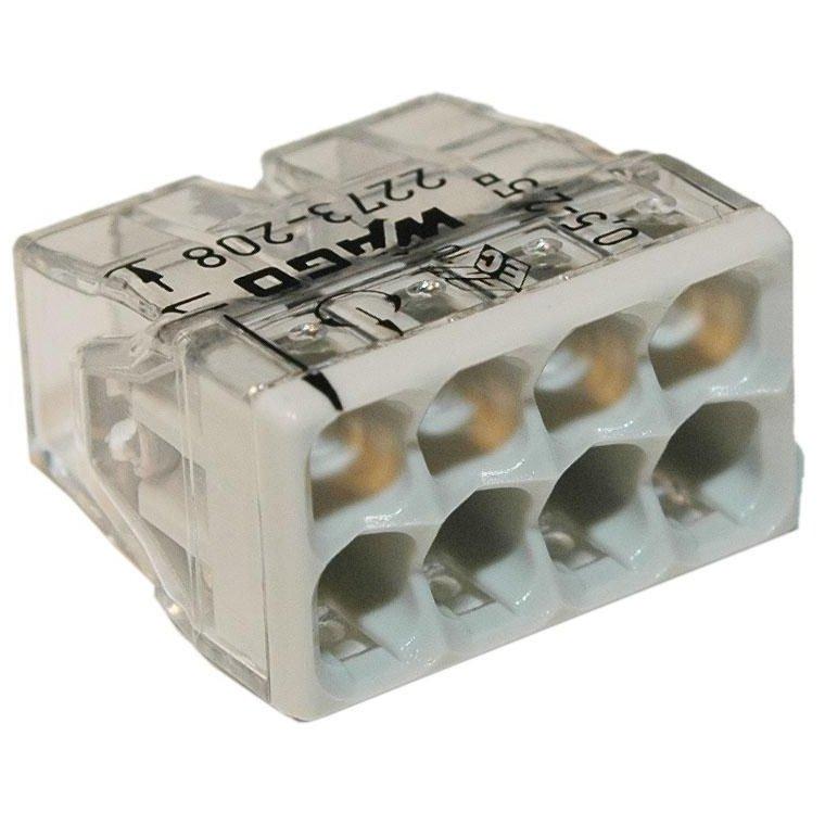 Set 10 conectori cu fixare prin impingere 8 conductoare 2 5mm2 24A Wago 2273-208