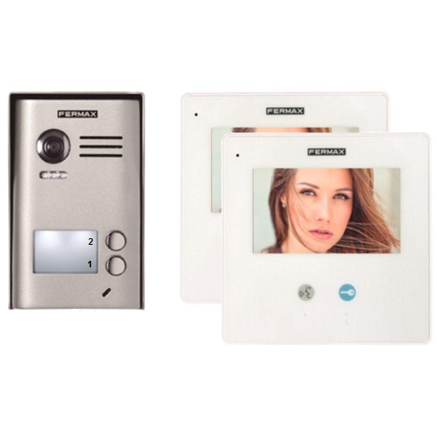 Kit Videointerfon Fermax 2/way Kit Slim Pentru 2 Familii
