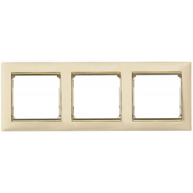 Rama Ornament 3 Posturi Fildes/auriu Valena Legrand 774153
