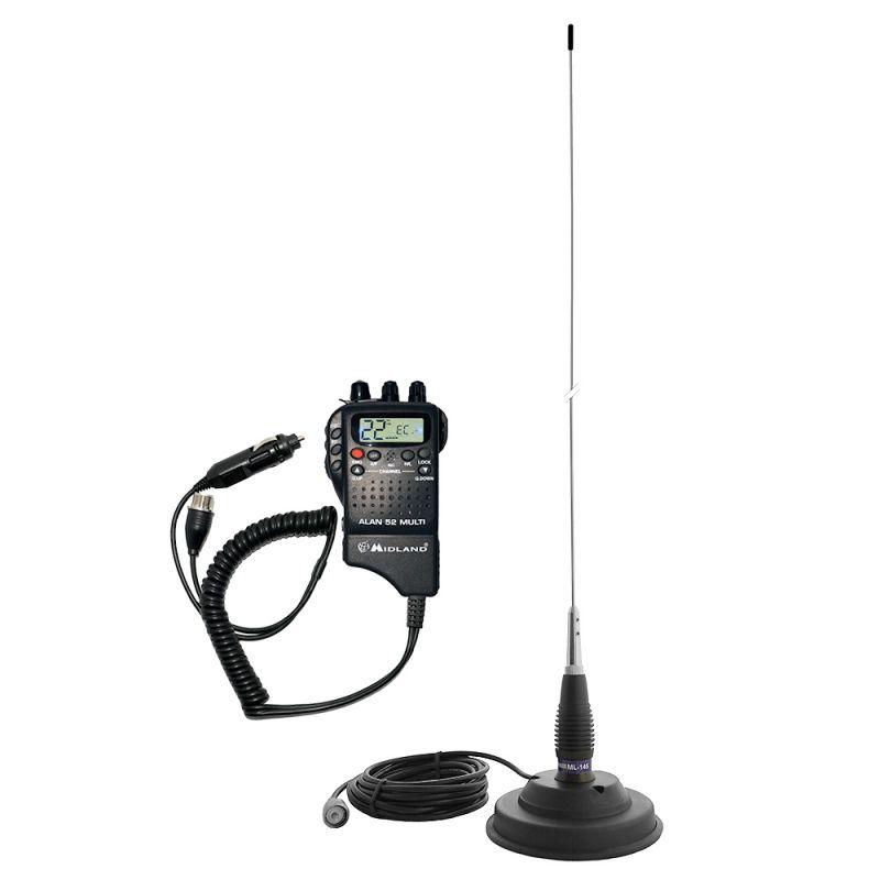 Kit Statie Radio Cb Midland Alan 52 + Antena Cb Pni Ml145 Cu Magnet