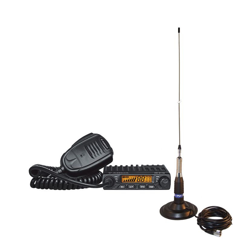 Kit Statie Radio Cb Albrecht Ae 6110 Asq + Antena Pni Ml160 Cu Magnet Alb-pack12