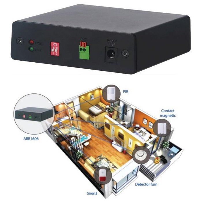 Extensie alarma pentru DVR-uri Dahua ARB1606 16 intrari alarma 6 iesiri alarma management RS485 configurare din DVR