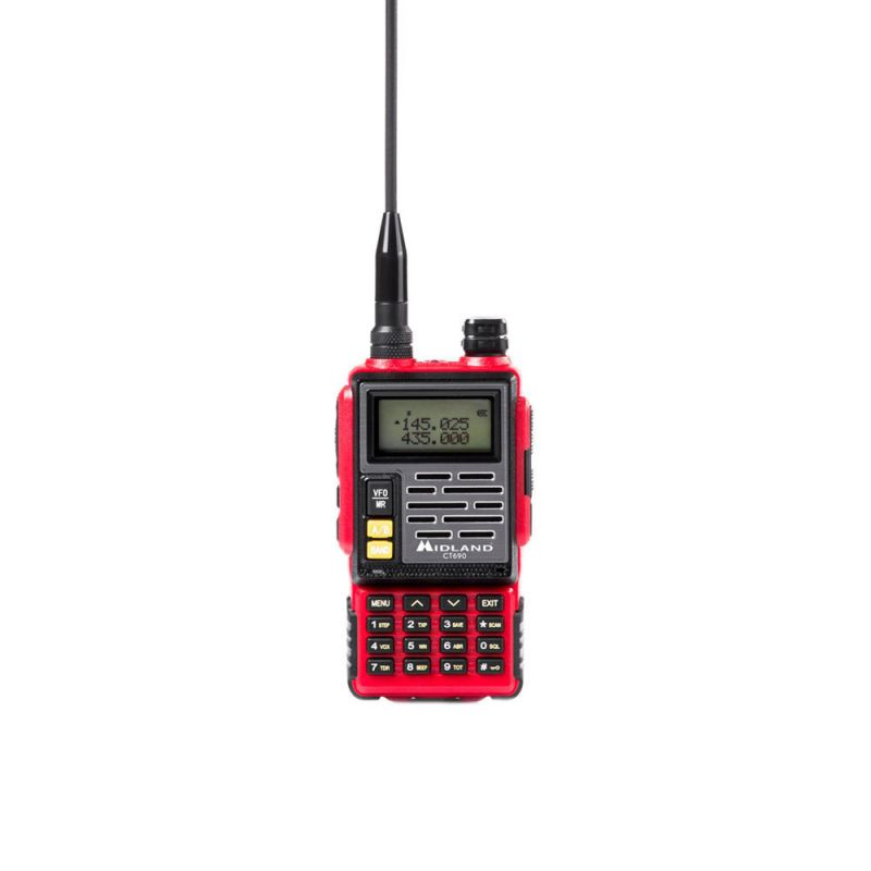 Statie Radio Vhf/uhf Portabila Midland Ct690 Dual Band 136-174 Si 400-470 Mhz Culoare Rosu Cod C1260.01