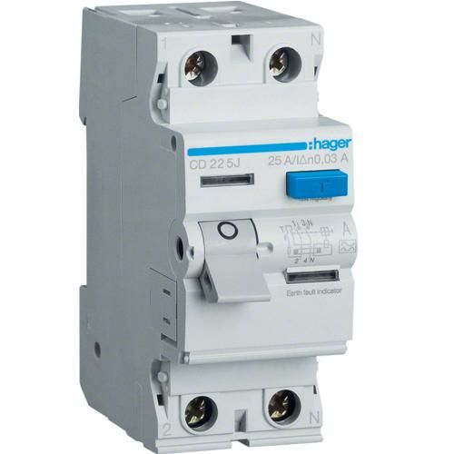 Intreruptor diferential 2P 25A 30 mA A Hager CD225J