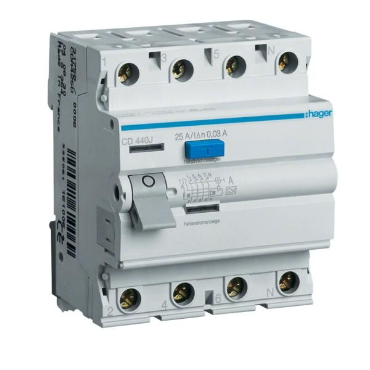 Intreruptor diferential 4P 40A 30 mA A Hager CD440J
