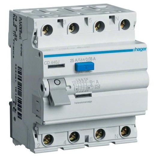 Intreruptor diferential 4P 63A 30mA AC Hager CD464J