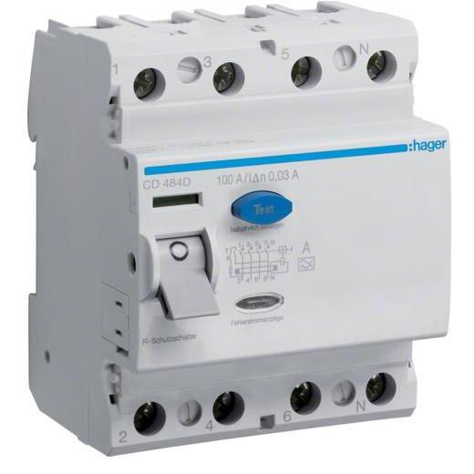 Intreruptor Diferential 4p 100a. 30ma. A Hager Cd4