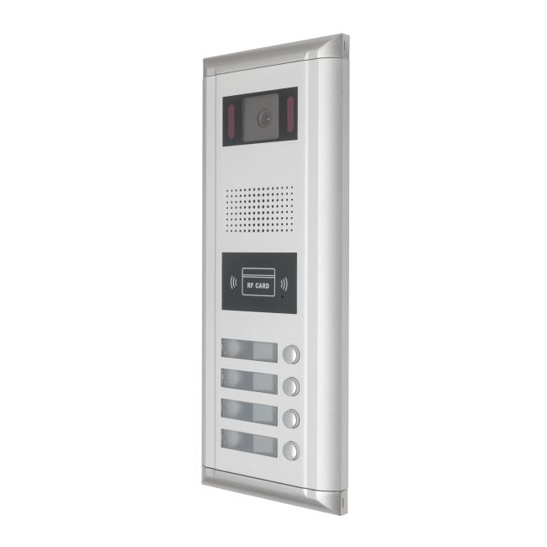Panou de apel video cu 4 butoane V-TECH DMR11-ID-S4 conectare pe 2 fire carcasa antivandal