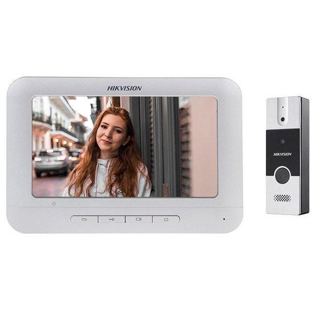 Set videointerfon color Hikvision DS-KIS202 montaj pe 4 fire format din post exterior DS-KB2411-IM si monitor interior
