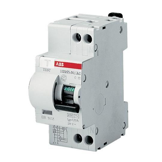 Intrerupator automat diferential 10A 1P+N 6kA 30mA ABB DS951 AC-C10/0 03A