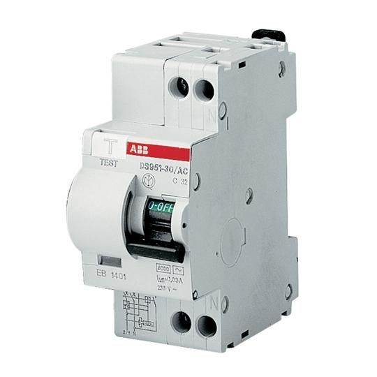 Intrerupator automat diferential 20A 1P+N 6kA 30mA ABB DS951 AC-C20/0 03A