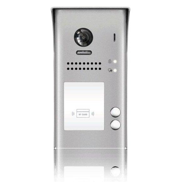 Panou video color de apel exterior cu conexiune pe 2 fire camera WIDE ANGLE 170 pentru doi abonati control acces RFID DT607-ID-S2