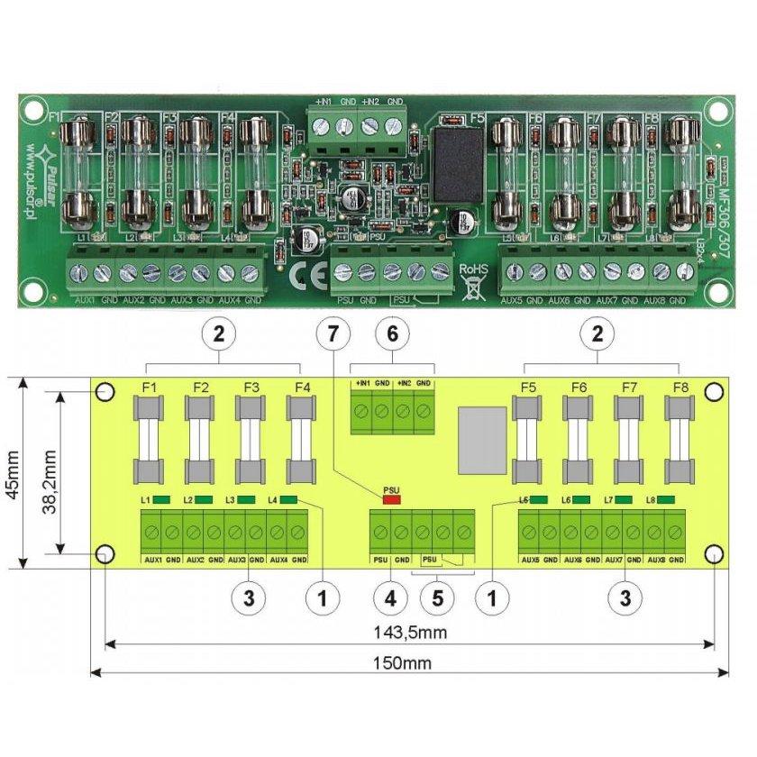Modul Cu 8 Sigurante Fuzibile Independente En54-lb4 Pentru Sursele Red Certificate En54. Indicator Optic Pentru Defectiuni