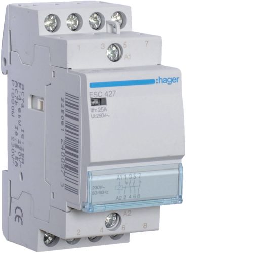 Contactor 25A 2ND+2NI 230V Hager ESC427