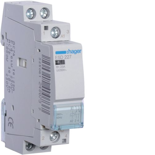 Contactor 25A 1ND+1NI 24V Hager ESD227