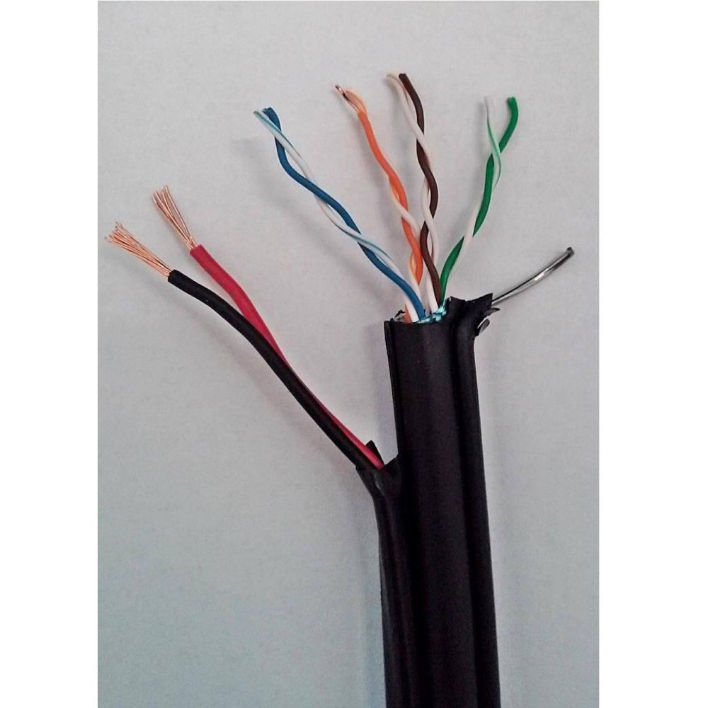 Cablu cupru FTP cu sufa + alimentare 2x0.75 CAT5E 24 AWG Teletronic 10ml