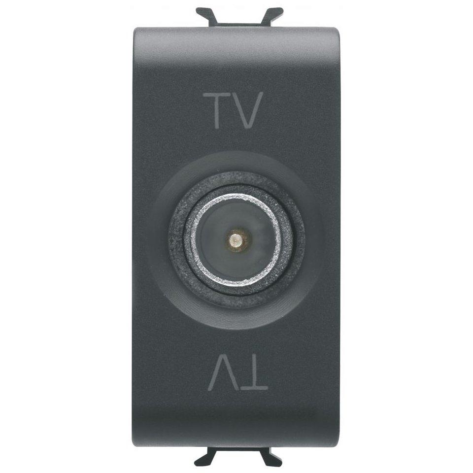 Priza tv de trecere 1 modul Gewiss Chorus GW12362 negru