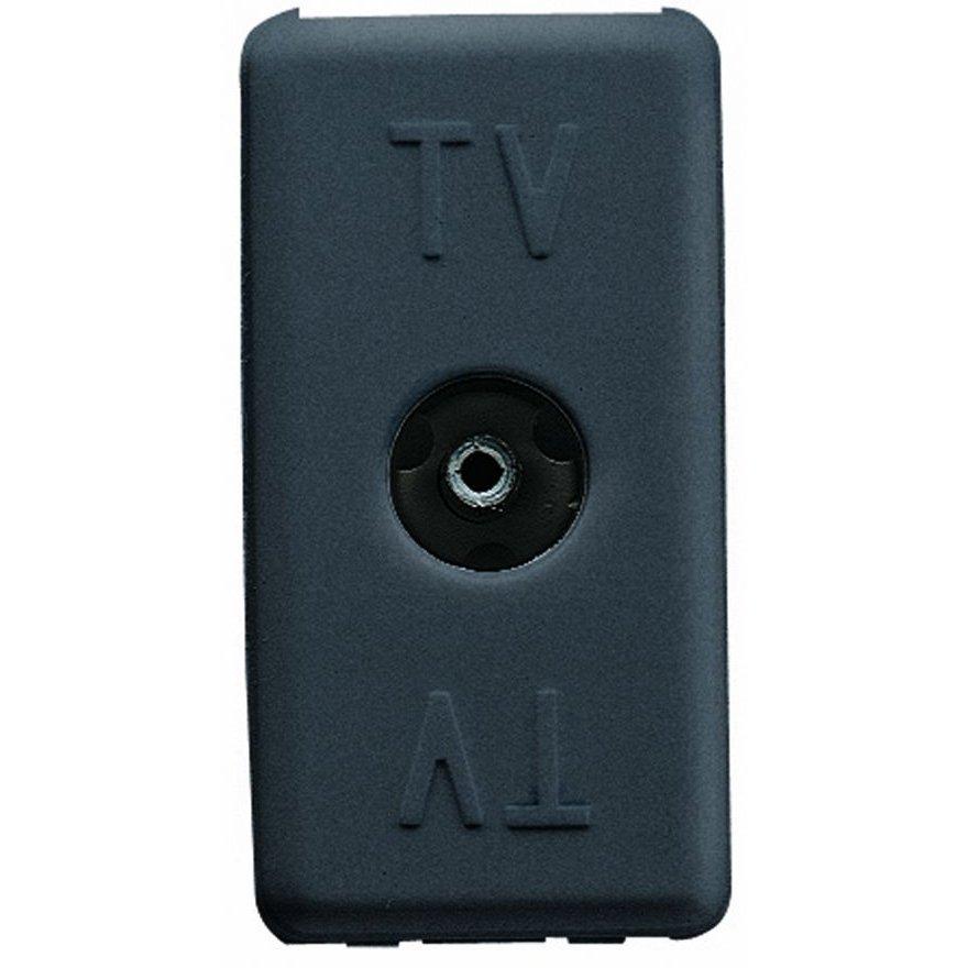 Priza tv de trecere 1 modul negru Gewiss System GW21229