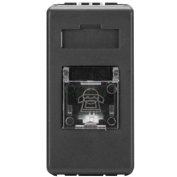 Priza telefon RJ11 1 modul Gewiss System GW21251 negru