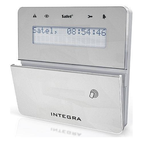 Tastatura alarma Satel INT-KLFR-SSW LCD Cititor de proximitate Compatibila INTEGRA Gri