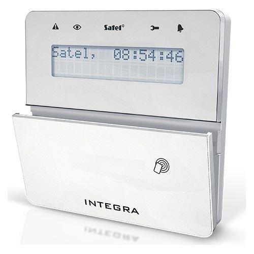 Tastatura alarma Satel INT-KLFR-WSW LCD Cititor de proximitate Compatibila INTEGRA Alb