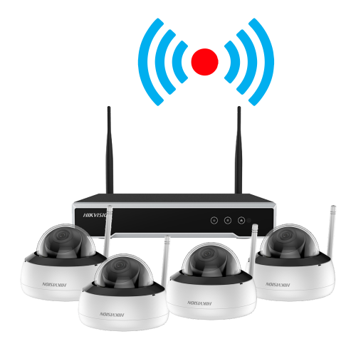 Kit supraveghere video Hikvision KIT-WIFI-4MP(4D) NVR 4 canale + 4 camere dome 4MP Wireless