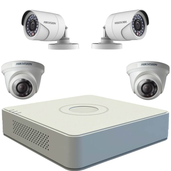 Kit Turbohd Hikvision Cu 2 Camere Dome Si 2 Camere Bullet 720p