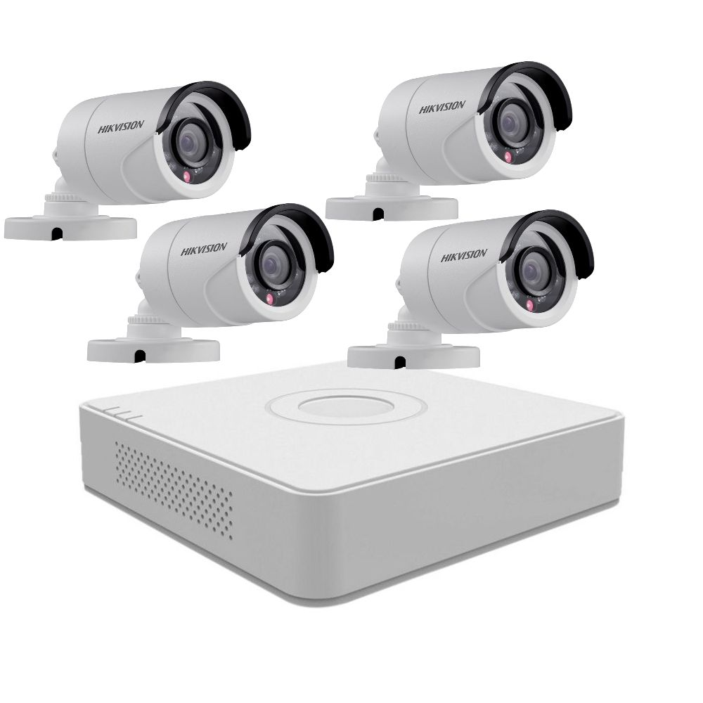 Kit supraveghere video Turbo HD Hikvision DS-7104HGHI-F1 + 4 camere 720p DS-2CE16C0T-IRPF