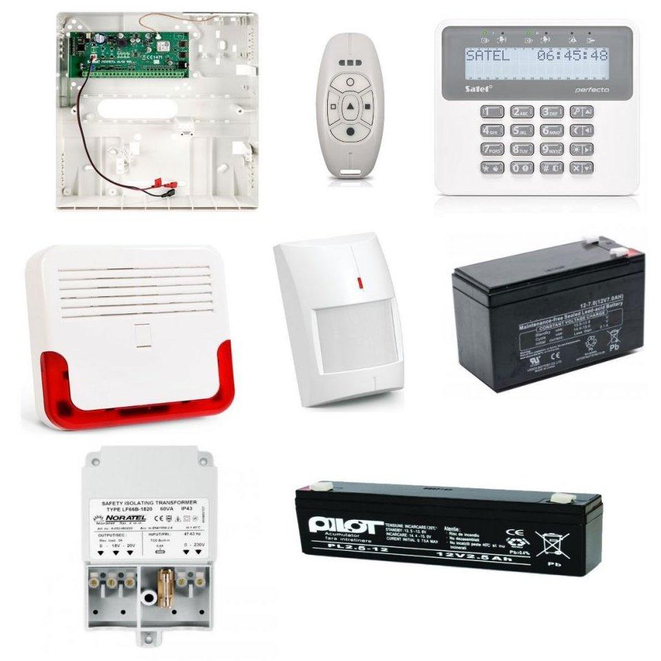 Kit alarma wireless Satel cu tastatura wireless detector de miscare wireless si sirena wireless