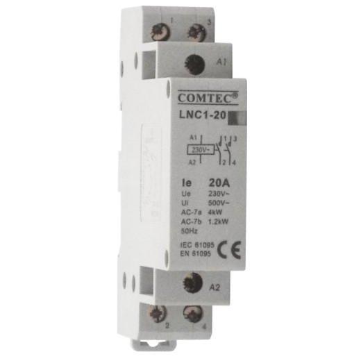 Contactor pe sina DIN 2P/20A 1NO+1NC LNC1-20 Comtec MF0003-00762
