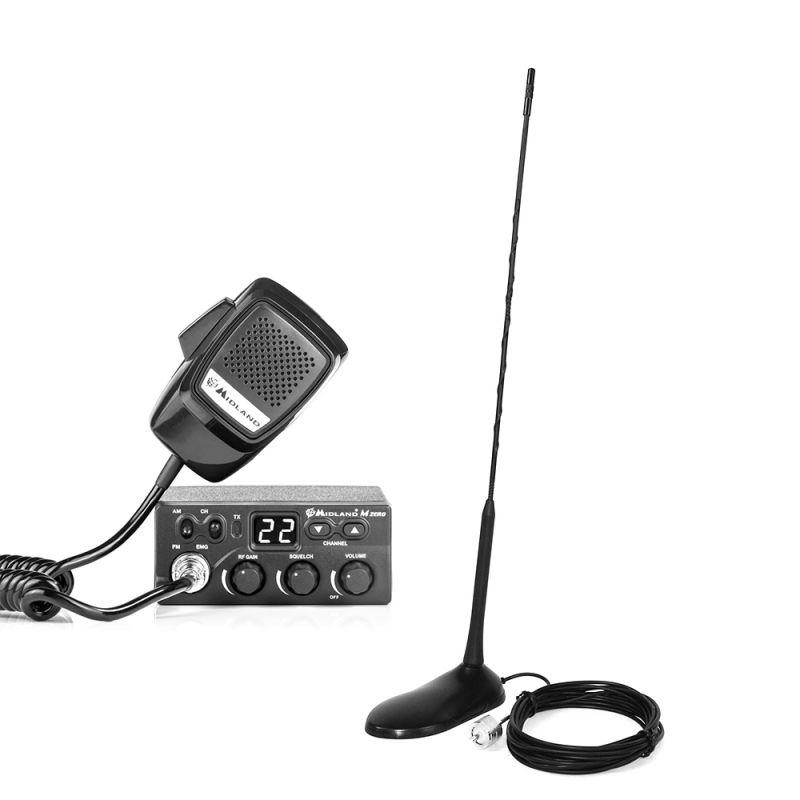 Kit Statie Radio Cb Midland M Zero Plus + Antena Pni Extra 45 Cu Magnet Mid-pack22
