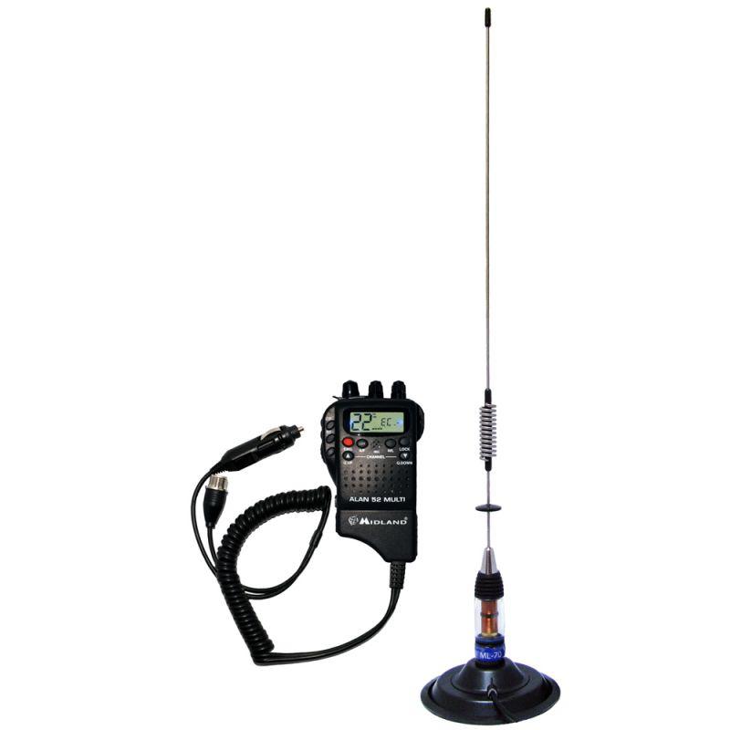 Kit Statie Radio Cb Midland Alan 52 + Antena Pni Ml70