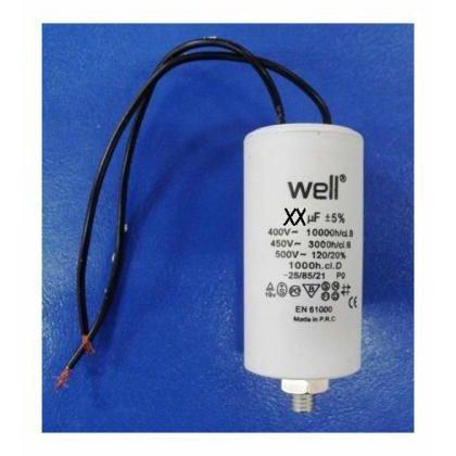 Condensator pornire motor 400V 20uF cu fir Well MOTCAP-20UF-WR-WL