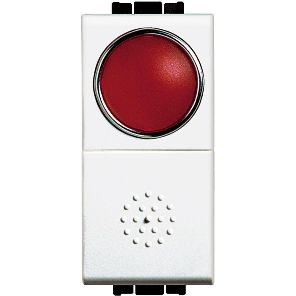 Buton cu revenire lampa rosie 10A 1 modul Living Light Bticino N4038R