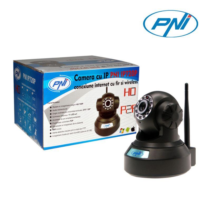 Camera Ip Pni Ip720p Cu Fir Si Wireless Are Capacitate De Rotire Si Comanda De La Distanta Prin Inte