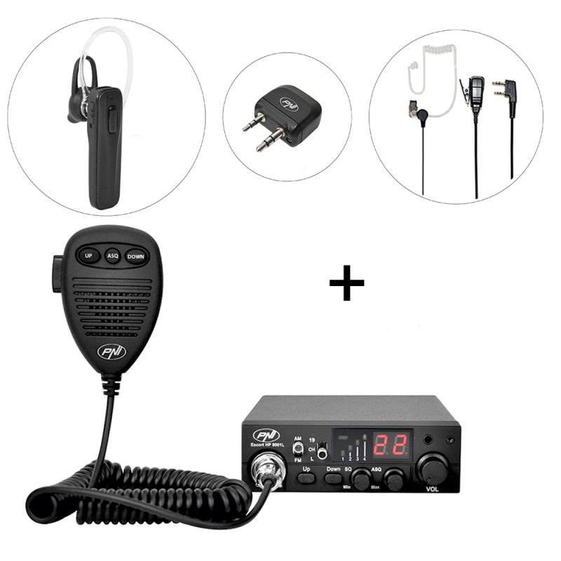 Kit Statie Radio Cb Pni Escort Hp 8001l Asq + Pni Bt-dongle 8001 + Casca Bluetooth Cu Microfon Pni Bt-mike 7500 Cu Ptt Pni-pack37
