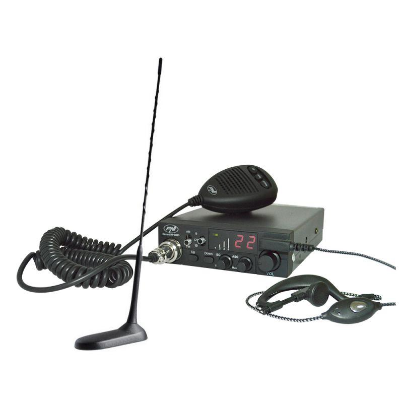 Kit Statie Radio Cb Pni Escort Hp 8001 Asq + Casti Hs81 + Antena Cb Pni Extra 45 Cu Magnet